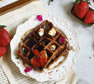 Organic Churro waffles with mocha sauce