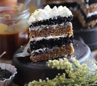 Organic Black Tea Cake with Honey Frosting