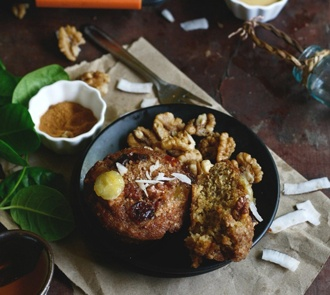 Organic Banana Coconut Muffins with Peanut Butter and Walnut Streusel