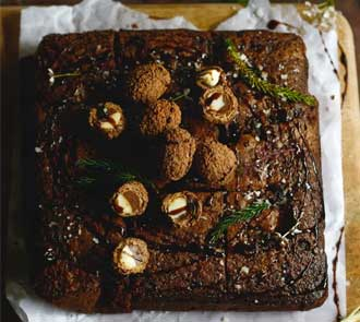 Organic Brownie Cake with Nutella Fudge and Sea Salt
