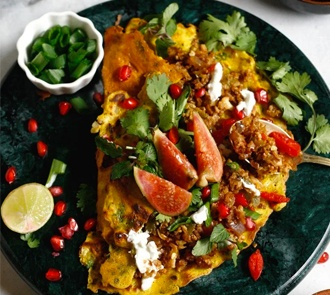 Organic Chickpea Crepes with Cauliflower Rice