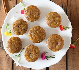 Organic Eggless  Wholewheat Fruit and Nut Cupcakes with Honey Icing