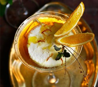 Organic Vanillla Lime Pannacotta with Honey Saffron gelee