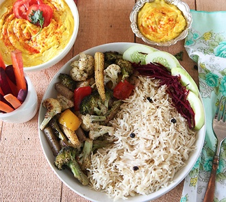 Organic Turmeric Hummus with Sumac Roasted Vegetables and Black Pepper Rice